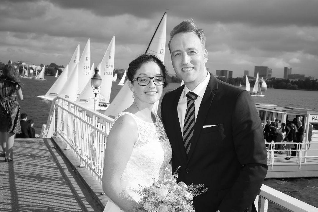 Schwarz-Weißes Hochzeitsfoto von Peter Vogel, Hamburg